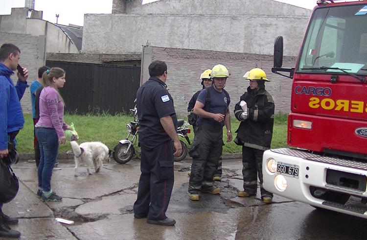(Los bomberos, la policía y testigos del accidente)