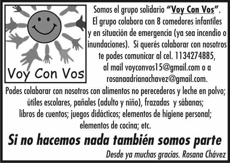 """(Medios de contacto con la organización solidaria """"Voy con Vos"""")"""