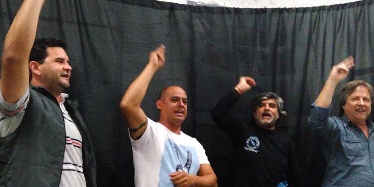 (Heber Ríos, Walter Correa y Hector Amichetti, referentes de la Coriente Federal de Trabajadores CGT)