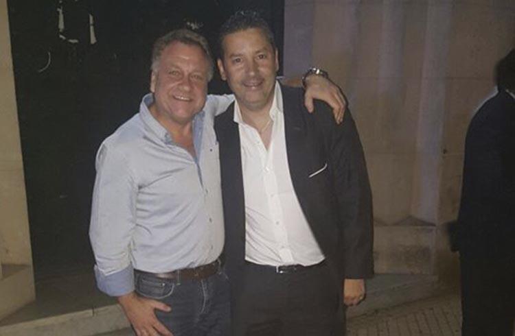 (Marcelo Basilotta junto al intendente de Merlo por el Frente para la Victoria, Gustavo Menéndez)