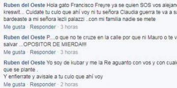Captura de pantalla que muestra los mensajes intimidatorios que se denunciaron