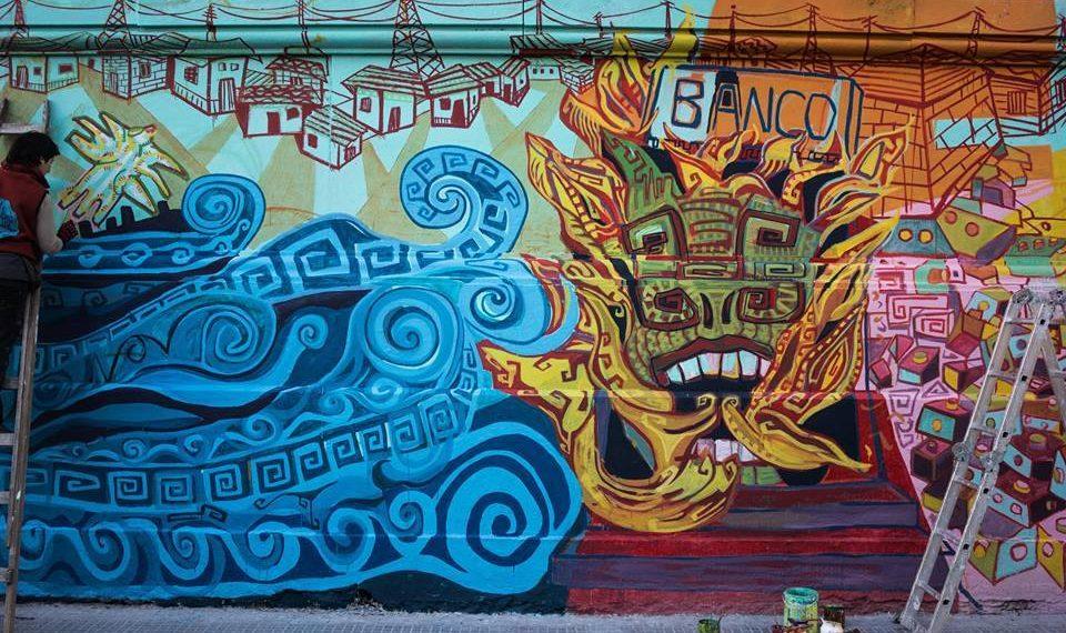 Mural en confección esquina Suarez y Almirante Brown en el Barrio de La Boca resignificando la muerte de los seis niños muertos en el trágico incendio del ex Banco Italia