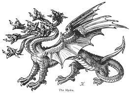 La mítica bestia de siete cabezas simbolizando el neoliberalismo desbocado